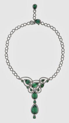 Platinum necklace with Gemfields' Zambian emeralds, 33.86 carats and diamonds, 7.26 carats.