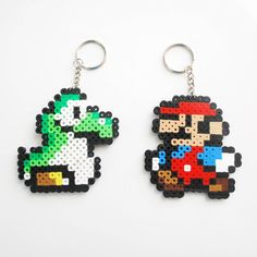 Mario and Yoshi Perler Beads keychain set by CyanRoseCreations, $8.00