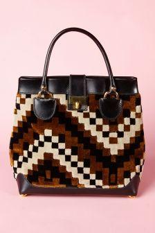 Shop Vintage | 1970s Koret Tapestry Leather Tote Handbag | Thrifted & Modern