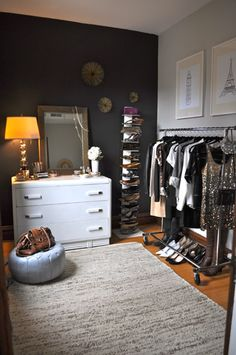1 Room, 2 Ways: Style The Trickiest Room In Your House! #refinery29 http://www.refinery29.com/living-archive-118#slide1 Room #1: Closet While this small space might make a tiny bedroom, it also makes a huge closet. Alaina styles our small space first as the perfect place for a wardrobe. Illustrations were drawn by the stylist, they are available on Etsy. Dresser from The Brown Elephant, clothing rack from Container Store, vertical bookshelf from West Elm, Moroccan poof was a gift ...