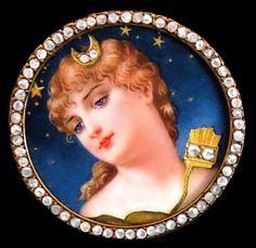 Art Nouveau enamelled and diamond-set portrait of the goddess Diana.