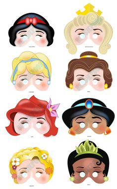 DISNEY PRINCESS PARTY Printable Mask Collection. Includes all 8 masks. Photo booth prop. Disney Snow White, Belle, Ariel, Rapunzel. $12.00, via Etsy.