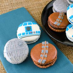 Star Wars Macarons (R2-D2, Chewbacca, and a Death Star design) by Semi Sweet Designs @SemiSweetMike