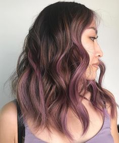 """Still in that """"new year, new you"""" mood? Then it's time to consider giving yourself a hair color refresh. The latest hue sweeping social media is Lavender Hair, Lilac Hair, Hair Color Purple, Cool Hair Color, Brown Hair Colors, Hair With Color, Hair Color Ideas, Gorgeous Hair Color, Brown Ombre Hair"""