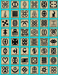 Adinkra symbols of African origin- could be a fun way to make a personal totem or group identification in a preschool. children could print adinkra symbols on a white t-shirt for field trips etc.