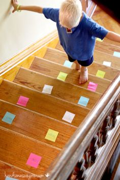 Sight word practice on the stairs - a fun hands on learning approach to learn sight words.