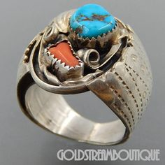 ALBERT MCCABE NAVAJO STERLING SILVER TURQUOISE CORAL WIDE MENS RING (12) #3172 ITEM SPECIFICS METAL SILVER METAL STAMP/HALLMARK AC, TESTED FOR STERLING SILVER SIZE 12 WIDTH ( inches / mm ) 1.05 / 26.7 WEIGHT ( gram ) 18.4