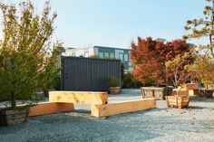 Marinship Studios by Terremoto « Landscape Architecture Platform Outdoor Rooms, Outdoor Furniture Sets, Outdoor Decor, Sawn Timber, Landscape And Urbanism, Meditation Garden, Wood Tree, Contemporary Landscape, Decorating On A Budget