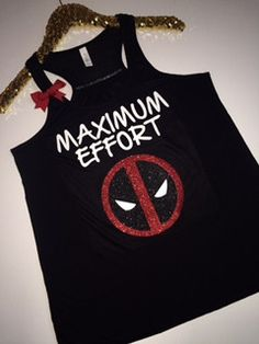 Maximum Effort - Deadpool - Ruffles with Love - Racerback Tank - Womens Fitness - Workout Clothing - Workout Shirts with Sayings Black tank with white glitter lettering and black, red and white glitte Workout Attire, Workout Wear, Workout Outfits, Maximum Effort Deadpool, Racerback Tank, Best Fitness Programs, Fitness Tips For Women, Knitted Tank Top, Workout Tanks
