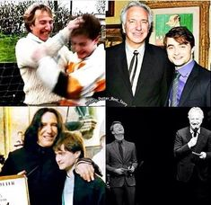 Harry Potter - Merlin's beard they had so much fun together,I miss Alan Rickman…and Snape too. Theme Harry Potter, Mundo Harry Potter, Harry Potter Tumblr, Harry James Potter, Harry Potter Jokes, Harry Potter Pictures, Harry Potter Universal, Harry Potter Characters, Draco Malfoy