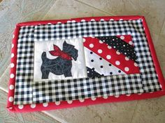 Red Black Scottie Dog  Quilted  String Quilt  Candle Mat Mug Rug Mini Quilt