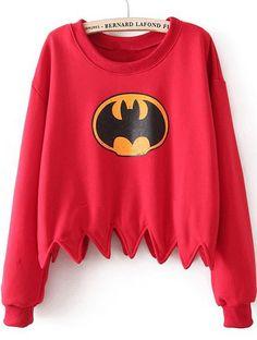 T-shirt batman avec le bas décoré -Rouge I love it! #batman #blog #strasbourg #jeleveux