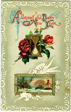 Postcards Vintage Arts And Crafts New Year's Postcard #2 Keep You Fit All The Time Periods & Styles