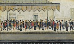 Laurence Stephen Lowry, R. The Railway Platform signed and dated 'L S LOWRY (lower right) oil on canvas 18 x 30 in. Salford, Spencer, English Artists, Ferrat, Urban Life, Art For Art Sake, Beach Scenes, Famous Artists, British Artists