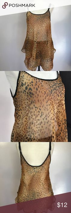 """Lord & Taylor Sheer Leopard Cami Set Excellent condition! No size or fabric tag- feels like polyester. Armpit to armpit- 20"""". Waist- 16"""" unstretched 💕💕 Lord & Taylor Intimates & Sleepwear"""