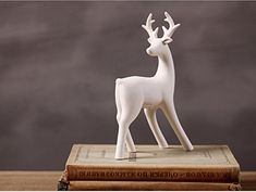 Greencherry Christmas Decor Deer Ceramic Standing Matte White Reindeer Figurine Statue (White 04) ** Check this awesome product by going to the link at the image.