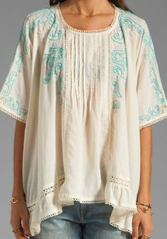 ANNA SUI Seed Beads On Voile Top in Cream at Revolve Clothing - Free Shipping!
