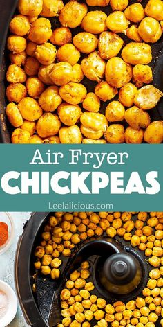 Make crunchy Air Fryer Chickpeas for a wholesome snack! These are deliciously seasoned and truly crispy. Roasted chickpeas are great for snacking on their own, as salad topping, vegan taco filling and Air Fryer Recipes Snacks, Air Fryer Recipes Vegetarian, Air Fryer Recipes Low Carb, Air Fryer Recipes Breakfast, Vegan Recipes Easy, Veggie Recipes, Keto Recipes, Snack Recipes, Oven Roasted Chickpeas