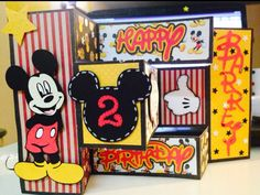 Handmade Mickey Mouse birthday card - trifold shutter card for toddler. Cricut Mickey and friends. Free disney font cut with silhouette cameo.