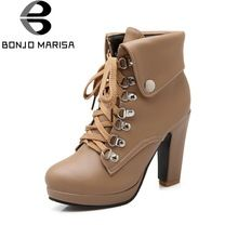 BONJOMARISA Women Winter Fur Boots High Heel Platform Shoes Woman Cool Cowboy Stylish Ankle Snow Boots Big Size 32-43(China (Mainland))
