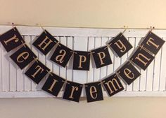 Happy Retirement Banner Garland Bunting Sign Farmhouse