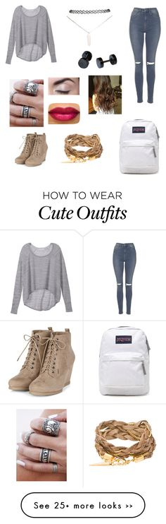 """Cute school outfit #1"" by lindseyscholer on Polyvore featuring Victoria's Secret, Topshop, Wet Seal and JanSport"