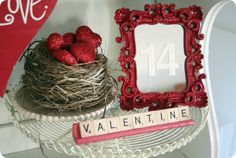 Valentine arrangement using found items and Dollar Tree purchases.