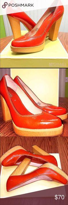 Michael Kors Austin Red Orange Pumps Brand new Michael Kors platforms. Crinkled orange patent leather. Original box included. Size is 7.5 . Michael Kors Shoes Heels