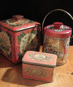 Delectably Pink  Three Lovely Vintage Pink Tins all by tinprincess.