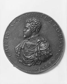 The Infante Philip of Spain, later Philip II of Spain (1527–98, r. 1556) Artist: Medalist: Leone Leoni (Italian, Menaggio ca. 1509–1590 Milan) Date: 1549 Culture: Italian Medium: Bronze, brown patina, cast Dimensions: Diam. 3 1/4 in. (83 mm.)
