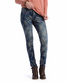 Crosby Floral Embroidered Jacquard Skinny Jeans