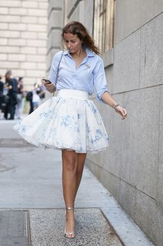 Trending Street Style at Spring Summer 2015 NYFW Fashion Week: High-waisted Skirt. More Trending High-waisted Skirt. More High-waist Skirt Trend SS 2015.