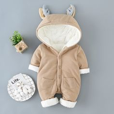 Warm Deer Horn Fleece-lining Hooded Jumpsuit for Baby Baby Outfits Newborn, Baby Boy Outfits, Kids Outfits, Baby Boutique Clothing, Baby Deer, Matching Family Outfits, Latest Fashion For Women, Toddler Boys, Jumpsuit