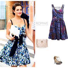 Leighton Meester/Zebra-stripe detailed strap dress