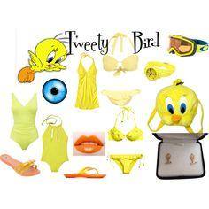 Throwback Thursday: Tweety Bird by sstark2010 on Polyvore featuring Athleta, Kiwi Saint-Tropez, Wallis, Seafolly, H&M, Stuart Weitzman, Vintage, Oakley and Cushnie Et Ochs