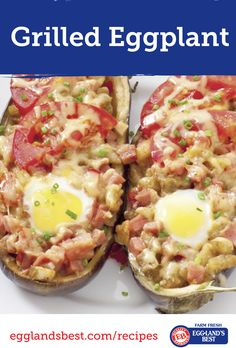 Grilling this weekend? Try these eggplant boats filled with a delicious mixture of feta and mozzarella cheese, eggs, veggies, hot peppers | Only 232 Calories | Satisfying & Scrumptious | from the Nutrition Twins and made with @egglandsbest .client