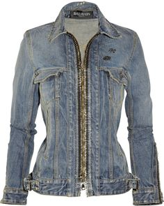 Balmain Blue Embellished Denim Jacket