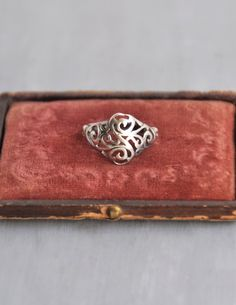 Vintage Sterling Silver Filigree Ring - domed face with cut out scroll design - Size 6 by CuriosityCabinet on Etsy