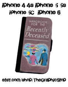 Beetlejuice Inspired Handbook For The Recently Deceased Wallet Case. iPhone 4/4s, 5/5s iphone 6 case gear for iphone cases wallets