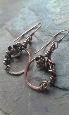 Wire wrapped copper earrings..hoop by LabyrinthSpirit on Etsy