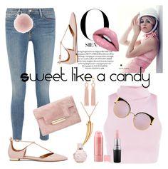 """Pink day"" by toska1975 on Polyvore featuring Frame, Aquazzura, Fendi, Oscar de la Renta, Allurez and MAC Cosmetics"