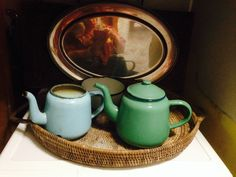 I love using antiques in unexpected ways. I store my laundry supplies in enamel teapots, with a small bowl for lint & pocket grot. It all sits on a PNG basket. Enamel Teapot, Laundry Supplies, Small Bowl, Kettles, Teapots, Basket, Mirror, Antiques, Store