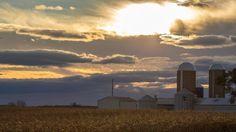 Michigan Silos Farm Photography Cloudy by Arkonacreekcreations