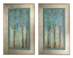 These Oil Reproductions Feature A Hand Applied Dabb Finish. Frames Have A Silver Leaf Base With Heavy Champagne Wash And Edges Are Lightly Distressed And Accented With A Warm Sephia Tone. Inner Lip Has A Muted Aqua Blue Base With Heavy Charcoal Glaze.