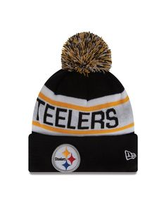00c88aa83 NFL Pittsburgh Steelers Biggest Fan Redux Beanie Acrylic outer with Fleece  lining for added warmth New Era Pom Pom Cuff Knit Fashion Knit