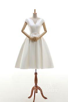 Latest+A-Line+V-Neck+Natural+Knee+Length+Satin+Ivory+Cap+Sleeve+Lace+Up-Corset+Wedding+Dress+Ribbons+JWLK16001