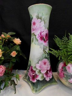 Superb Heinrich Vase with Cascades of Stunning Roses from finestporcelain on Ruby Lane