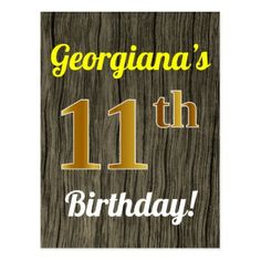 Faux Wood Gold 11th Birthday Custom Name Postcard 75th BirthdayBirthday GiftsGold