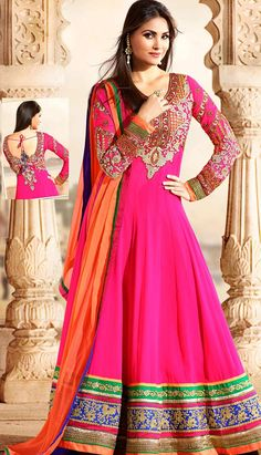 This alluring rani coloured #anarkalidress is decorated with well formed resham, zari, stone, sequins and patch patty work. It is magnificently designed to look admirable. Amazing back side area is to give royal look.