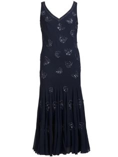 Navy Butterfly Beaded Dress £235 - V neckline on this ethereal navy georgette dress is embellished with beaded butterflies to add a note of summer. Fitted at waist, the flare is enhanced by godets from hip to hem. 136cm from shoulder neck point to hem. — at http://www.chescadirect.co.uk/products/1427-navy-butterfly-beaded-dress.